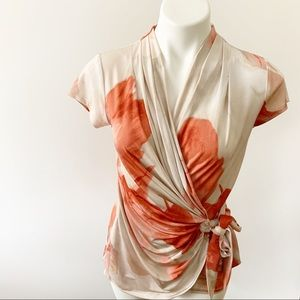 Carmen Marc Valvo Wrap Blouse Spandex Blend Small